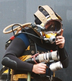 Close Up Diver On CCTV